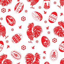 Easter Pattern With Roosters A...