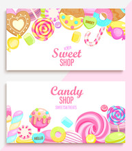 Set Of Candy And Sweet Shop Ba...