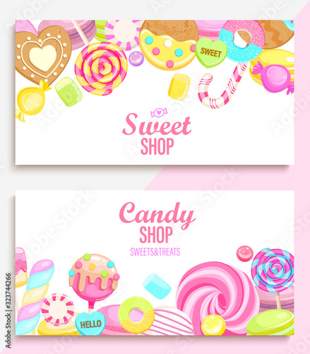 Set of candy and sweet shop banners with many sweets and place for text. Candy,macaroon,bonbon,lollypops,marshmallow,jellybean,candy cane, biscuit. Template for posters, menu,flyers. Vector. Fototapete