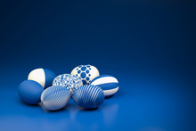Easter Eggs With Different Textures In Classic Blue On A Seamless Blue Background