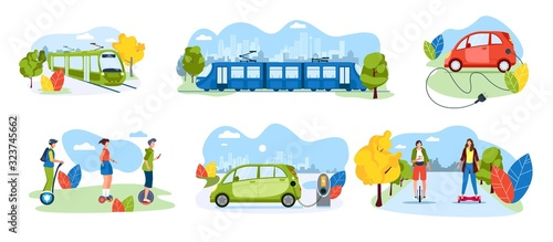 Obraz People riding electric transport in modern city, commuter rail train and tram, vector illustration. Eco friendly public transportation, urban environment. Electric car and personal transport set - fototapety do salonu