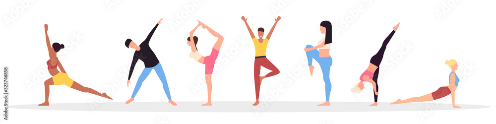 Fototapeta Male and Female Characters Sport Activities Set. People Doing Sports, Yoga Exercise, Fitness, Workout in Different Poses, Stretching, Healthy Lifestyle, Leisure. Cartoon Flat Vector Illustration