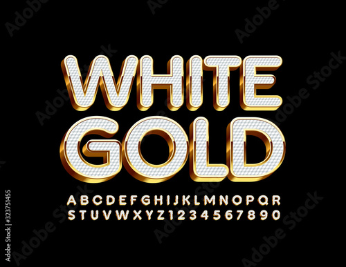 Fototapeta Vector White and Gold Alphabet Letters and Numbers. Luxury 3D Font obraz