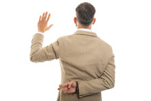 Back View Of Man Wearing Fashionable Clothes Taking Fake Oath