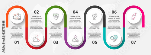 Fototapeta Vector template circle infographics. Business concept with 7 options and parts. Seven steps for content, flowchart, timeline, levels. Path step by step obraz