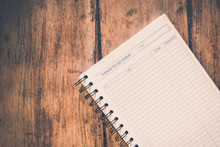 Things To Do Today - A Blank Page In A Notebook On Wooden Table. Vintage Look