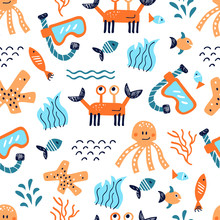 Sea Life Vector Pattern