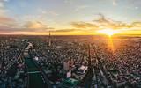 Dramatic sunrise sky of Tokyo cityscape at dawn, Japan