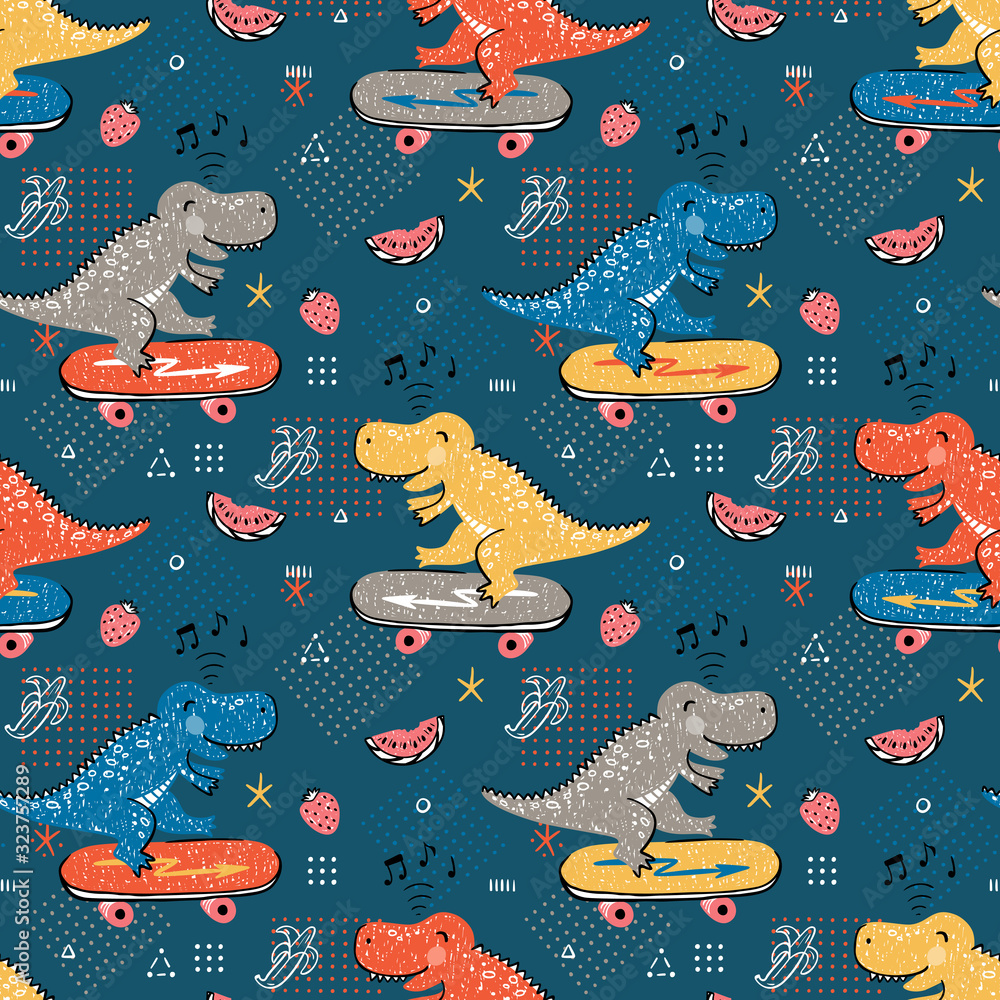 Seamless pattern for kids fashion with Cute Dinosaur. Hand drawn doodle Dinosaur Skater. Cartoon Animal Vector Background