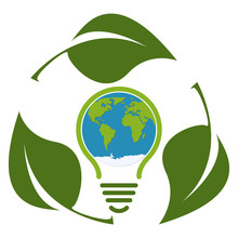 Green Eco Light Bulb Icon Concept Isolated