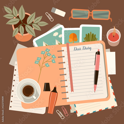 Photo Workplace with a personal diary