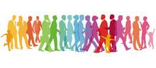 Farbenfrohe Große Gruppe Von