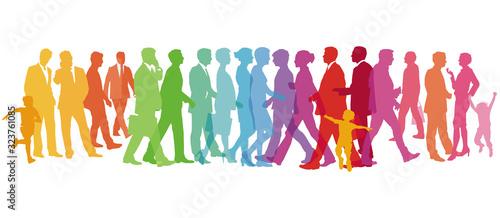 Fotografía farbenfrohe Große Gruppe von Menschen – Vektor Illustration
