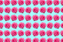 Collage Of Red Roses Isolated On Light Blue Background With Valentine's Day Concept