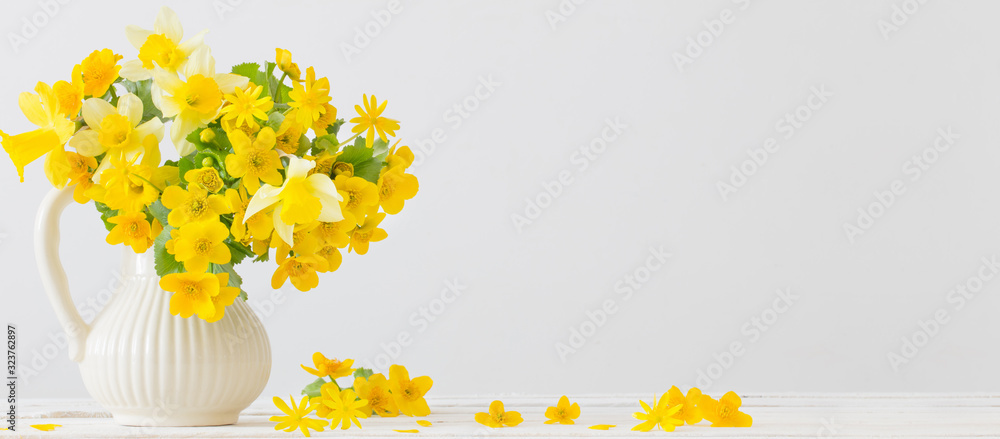 Fototapeta Still life with yellow spring flowers in jug