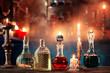 Leinwandbild Motiv magic potions in bottles on wooden background