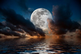 Scenic with full moon on sea to night..
