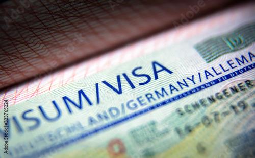 Visa stamp in passport close-up Wallpaper Mural