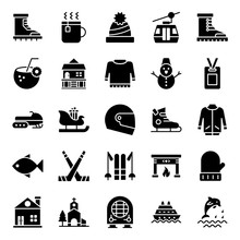 Adventure And Hiking Glyph Icons Pack