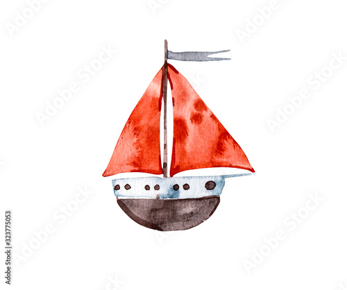Nursery cute Abstract watercolor boat red sail, baby clipart. Template for the boy newborn kids, childish invitation cards, concept of love and freedom - texture of paint paper in color illustration