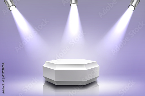 Obraz Podium with spotlight illumination, empty hexagon stage for award ceremony, product presentation platform, fashion show performance pedestal, dance floor in nightclub. Realistic 3d vector illustration - fototapety do salonu
