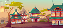 Chinese Village Street With Old Traditional Typical Houses And Garland With Lanterns Hang On Green Trees. Ancient Asian Area Surrounded With Picturesque Mountains Landscape Cartoon Vector Illustration