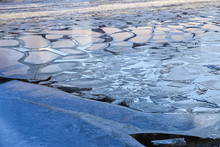 Melting Ice Floes On The River...