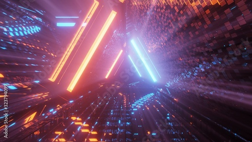 Photo Cool triangular shaped futuristic sci-fi techno lights