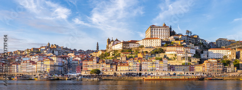 Obraz Porto in Portugal and its beautiful tourist part of Gaia and picturesque historical architecture of ancient Europe. Colorful buildings of the Portuguese city - fototapety do salonu