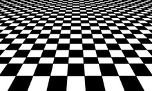 Graphic Grid Perspective Chess Background. Black Silhouette On A White Background.