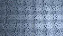 3D - A Wall Of Blue Cubes