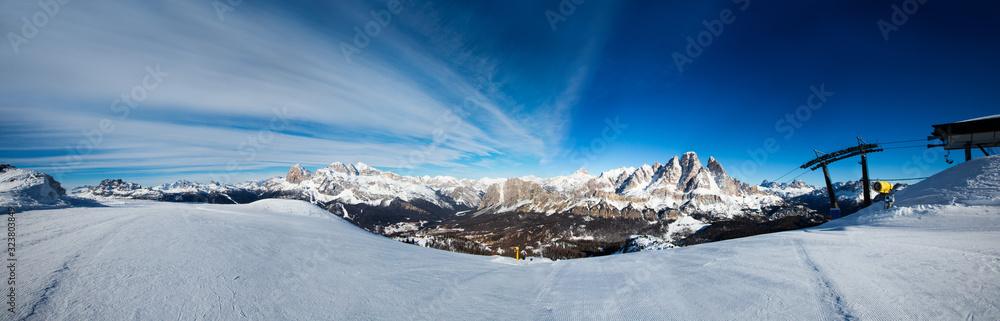 Fototapeta Dolomities winter mountains ski resort