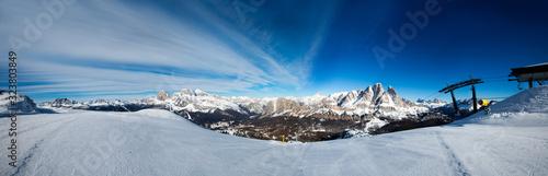 Fototapeta Dolomities winter mountains ski resort obraz