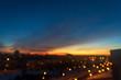 Leinwandbild Motiv sunset over city, nice sunset sky