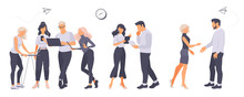 People Work In A Team. Business, Workflow Management And Office Situations. Landing Page Template. Isolated White Background. Set Of 3d Isometric Illustration In Mkdern Flatstyle. Vector.