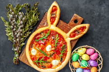 Festive Easter Pizza In The Fo...
