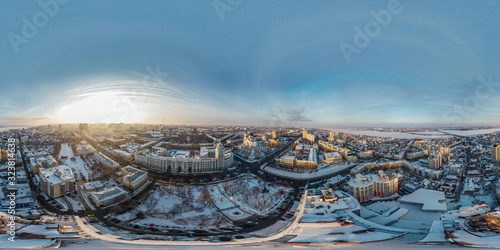 Obraz Panoramic 360 degree aerial drone view of evening winter Voronezh downtown cityscape - fototapety do salonu