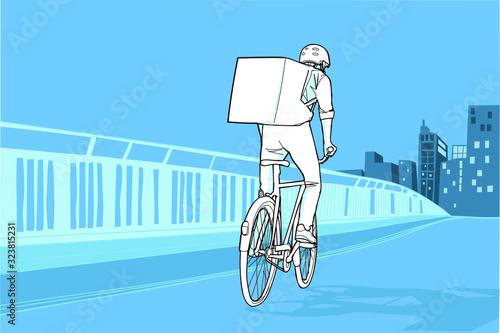 Photo Mensajero montando en bicicleta con la ciudad al fondo