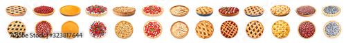 Fototapeta Different tasty pies on white background obraz
