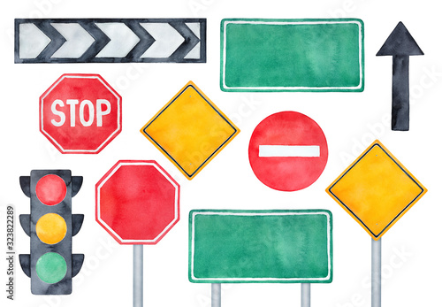 Watercolour illustration pack of various road signs, traffic lights and directional arrows. Hand painted water color sketchy drawing on white background, colorful clipart elements for creative design.