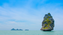 Fresh Blue Sea At Koh Samui In Thailand With Islands And Fishing Boats
