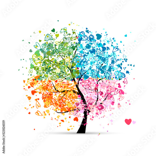 Obraz na plátně Four seasons - spring, summer, autumn, winter