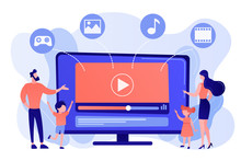 Tiny People Family With Kids Watching Smart Television Content. Smart TV Content, Smart TV Interactive Show, High Resolution Content Concept. Pinkish Coral Bluevector Isolated Illustration