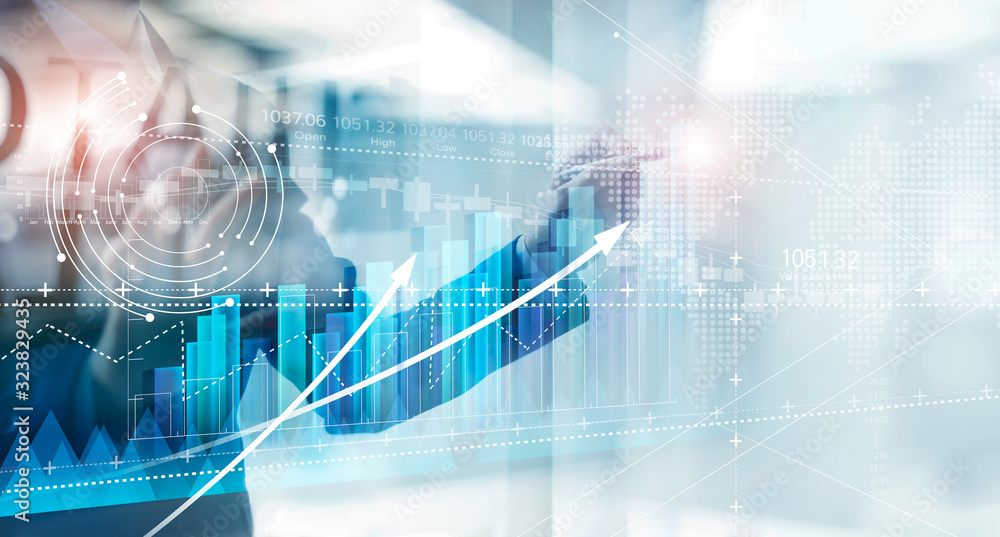 Fototapeta Hand of businessman drawing graphs growth of business, planning and strategy on modern virtual interface screen.