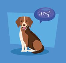Cute Dog With Speech Bubble Ve...