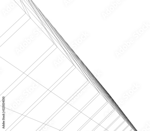Fototapety, obrazy: architecture building linear vector 3d illustration