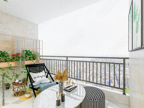 The balcony of a modern city house, with tables, chairs, flowers and plants on i Wallpaper Mural