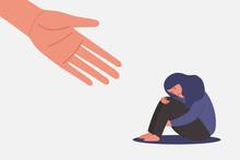 Human Hand Helps Sad And Unhap...