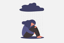 Unhappy And Sad Young Woman In Depression Sitting And Hugging Her Knees, Under Rainy Cloud, Sorrow, Sadness, Mental Health Concept, Cartoon Female Character Vector Flat Illustration