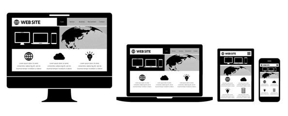 ウェブページを表示したデスクトップとノートパソコンとスマホとタブレット-白黒